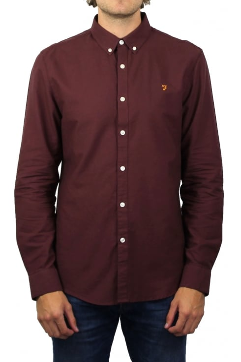Farah Brewer Long-Sleeved Oxford Shirt (Farah Red)