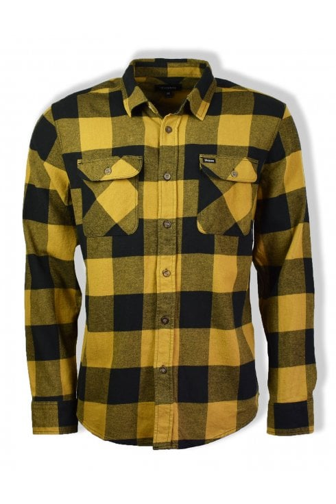 Brixton Bowery Long-Sleeved Flannel Shirt (Black/Bronze)