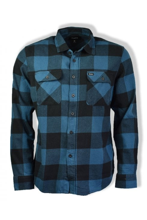 Brixton Bowery Long-Sleeved Flannel Shirt (Black/Teal)