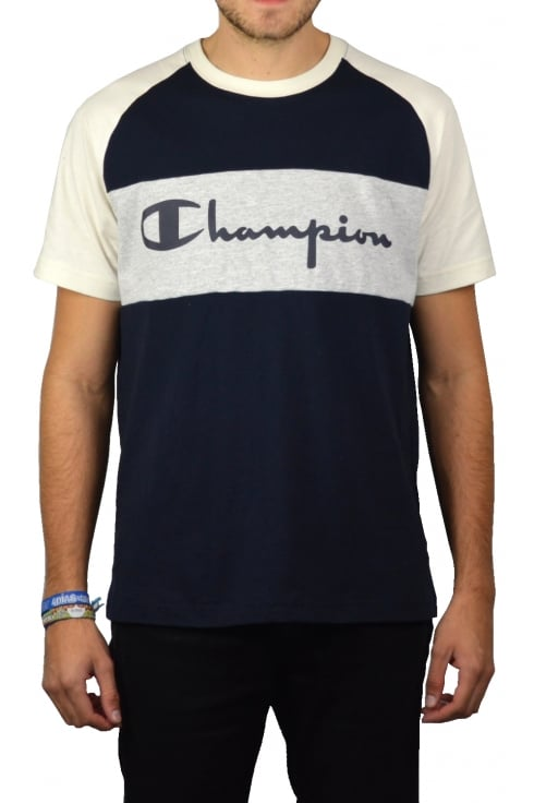 Champion Raglan Script Crew-Neck T-Shirt (Navy)