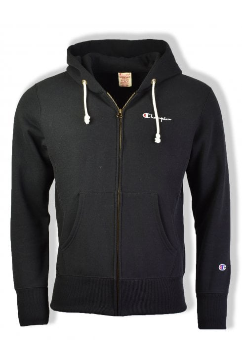 Champion Reverse Weave Hooded Full Zip Sweatshirt (Black)