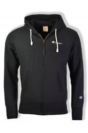 Reverse Weave Hooded Full Zip Sweatshirt (Black)