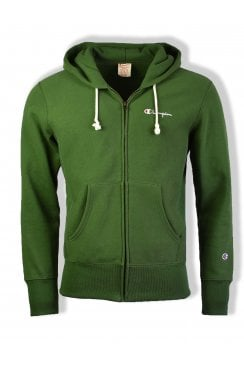 Reverse Weave Hooded Full Zip Sweatshirt (Green)