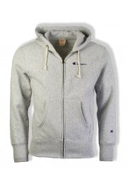 Reverse Weave Hooded Full Zip Sweatshirt (Grey)