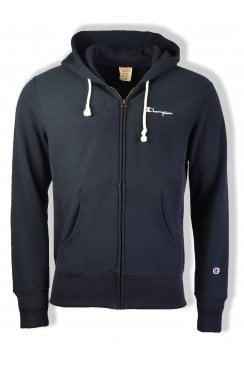 Reverse Weave Hooded Full Zip Sweatshirt (Navy)
