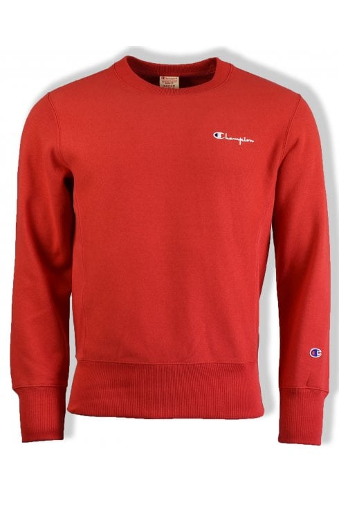 Champion Reverse Weave Logo Sweatshirt (Red)