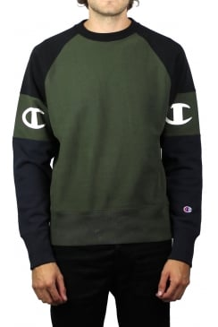 Reverse Weave Raglan Panel Sleeve Sweatshirt (Olive/Black)