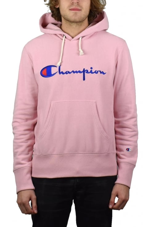 Champion Reverse Weave Script Hooded Sweatshirt (Pink)