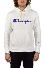 Reverse Weave Script Hooded Sweatshirt (White)