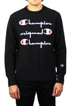 Reverse Weave Triple Logo Sweatshirt (Black)