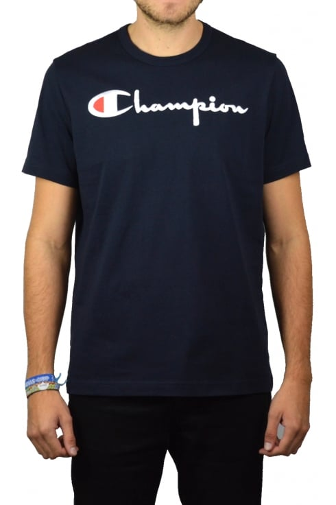 Champion Script Crew-Neck T-Shirt (Navy)