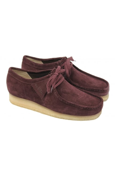 Clarks Originals Wallabee Suede Shoes (Burgundy)