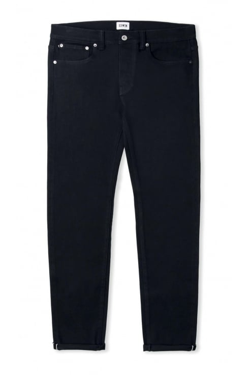 Edwin ED-80 Slim Tapered White Listed Selvage Jeans (Black Rinsed)