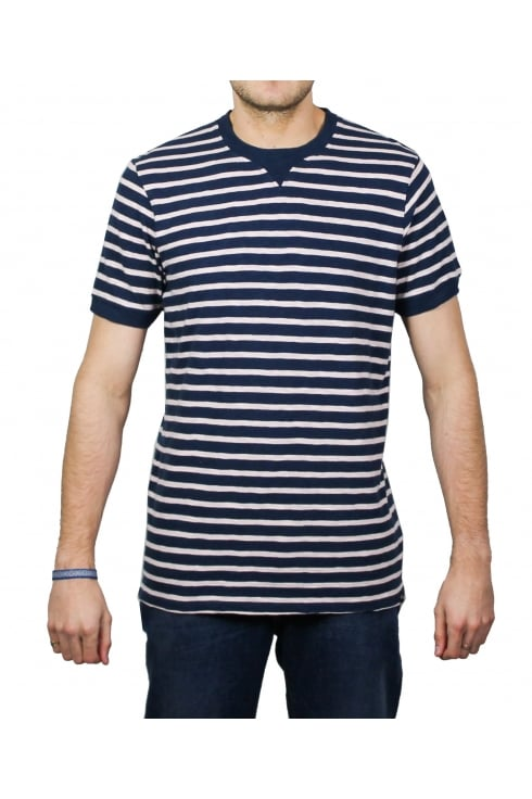 Edwin International Short-Sleeved Striped T-Shirt (Navy/Pink)