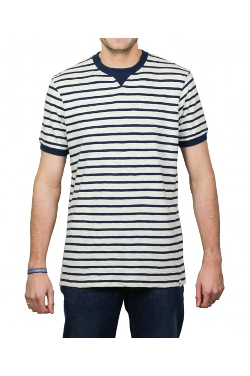 Edwin International Short-Sleeved Striped T-Shirt (Off White/Navy)