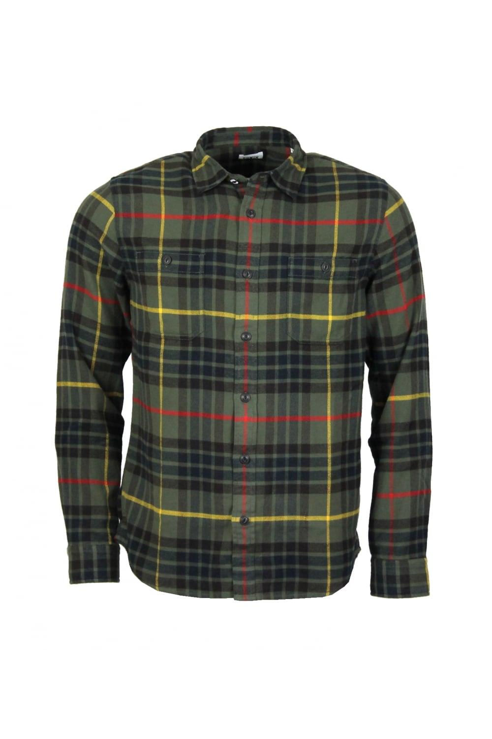 0f19194879cf Edwin Labour Check Brushed Flannel Shirt (Uniform Green)