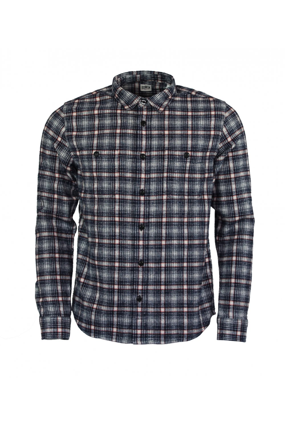 1f44a6e9eb9e Edwin Labour Long-Sleeved Plaid Shirt (Navy Off-White Check ...