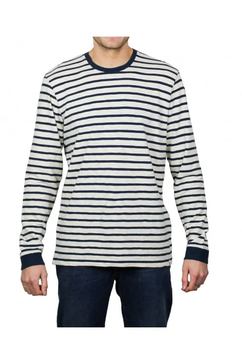Edwin Tokyo Blues Long-Sleeved Striped T-Shirt (Off White/Navy)