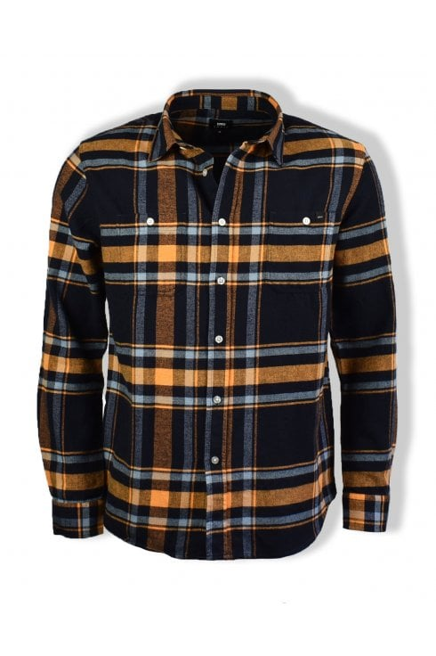 Edwin Labour Mid Twill Flannel Shirt (Orange Ochre)