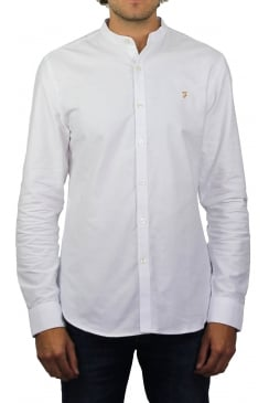 Brewer Grandad Long-Sleeved Oxford Shirt (White)