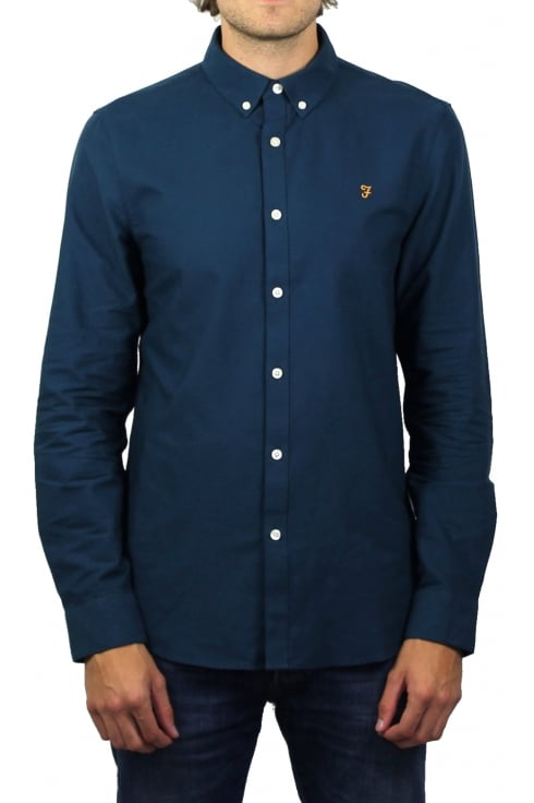 Farah Brewer Long-Sleeved Oxford Shirt (Atlantic)