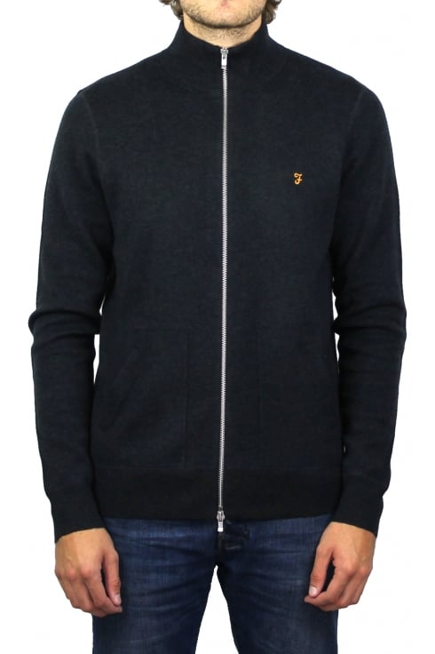 Farah Fermoy Knitted Zip Cardigan (True Navy Marl)