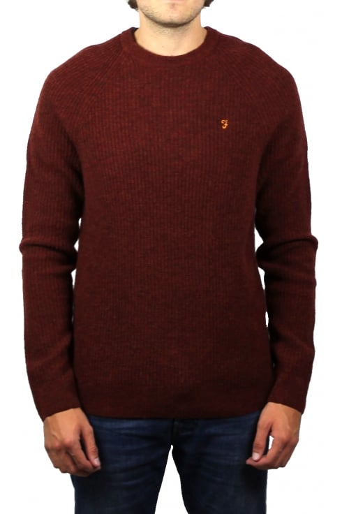 Farah Garway Chunky Knit Jumper (Red Brick Marl)