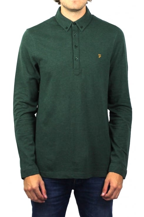 Farah Merriweather Long-Sleeved Polo Shirt (Cilantro Marl)