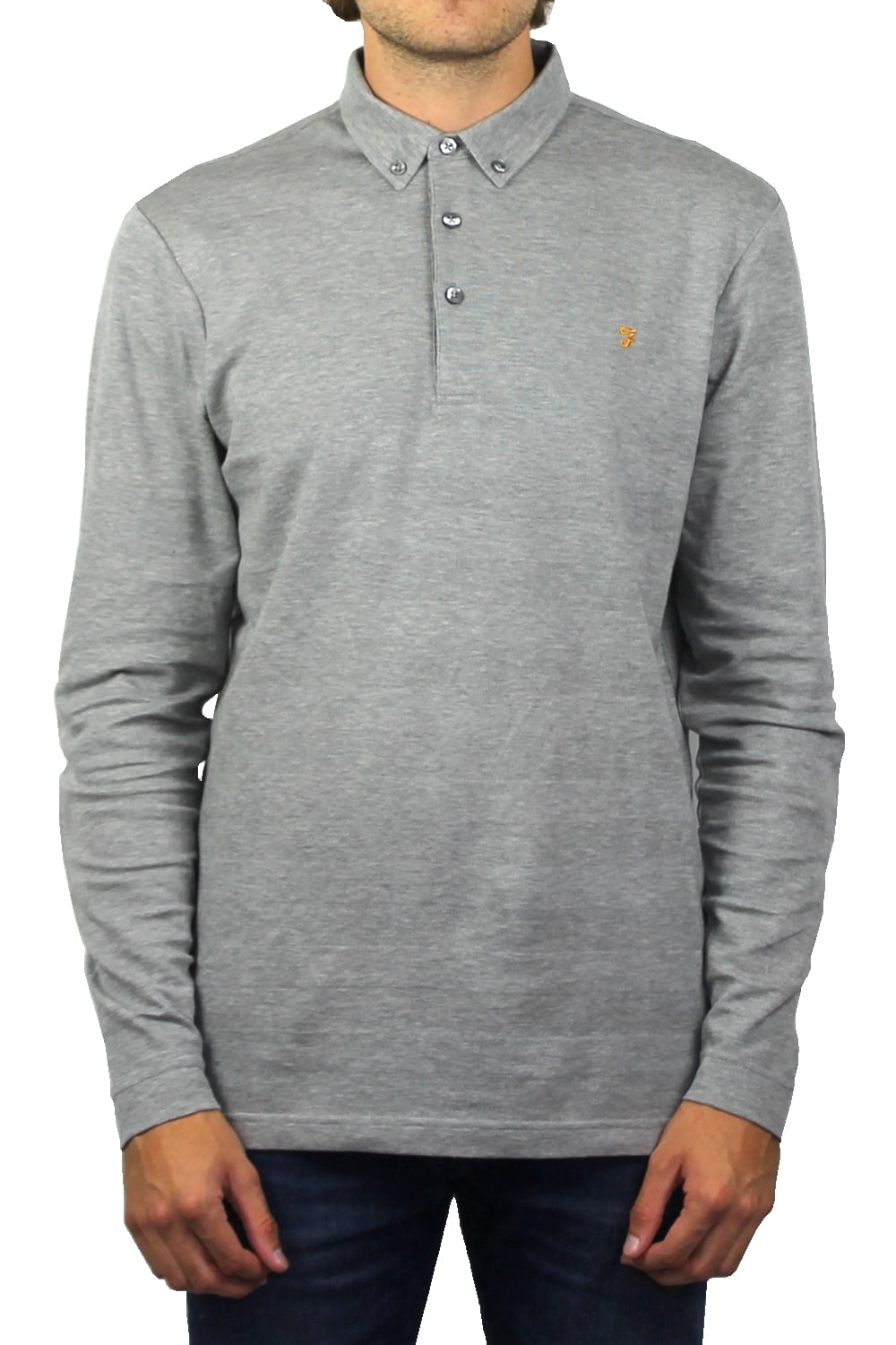 23d54f30 Farah Stapleton Long-Sleeved Polo Shirt (Silver Grey Marl) | ThirtySix
