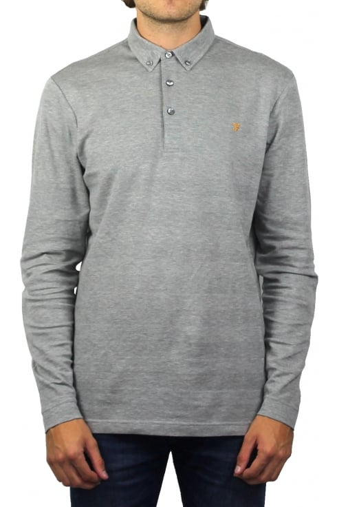 Farah Stapleton Long-Sleeved Polo Shirt (Silver Grey Marl)