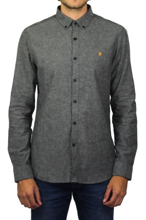 Farah Steen Long-Sleeved Oxford Shirt (Gravel Marl)