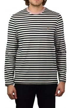 Trafford Striped Long-Sleeved T-Shirt (True Navy)