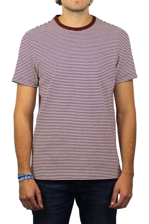 Farah Vyner Short-Sleeved Stripe T-Shirt (Red Brick)