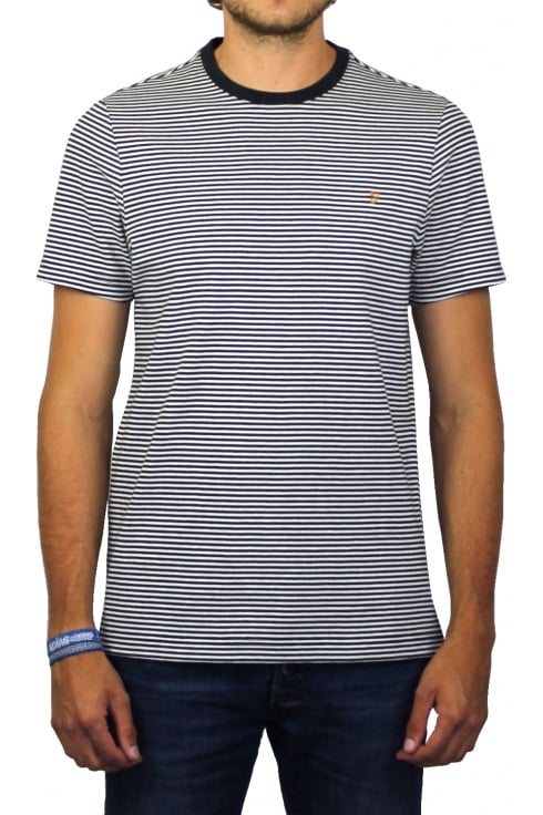 Farah Vyner Short-Sleeved Stripe T-Shirt (True Navy Marl)