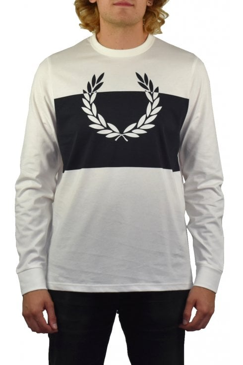 Fred Perry Blocked Laurel Wreath Long-Sleeved T-Shirt (Snow White)