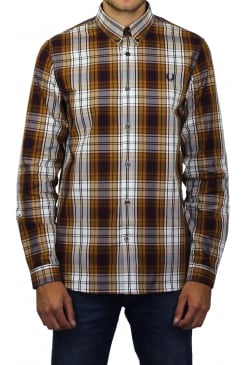 Bold Tartan Check Long-Sleeved Shirt (Mustard)