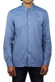 Brushed Oxford Long-Sleeved Shirt (Mid Blue)