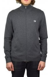Classic Cotton Zip Cardigan (Charcoal Marl)