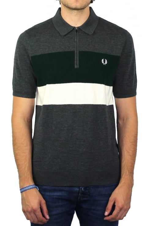 Fred Perry Colour Block Knitted Polo Shirt (Charcoal Marl)