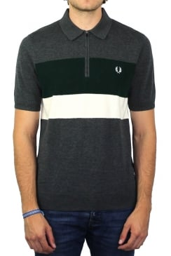 Colour Block Knitted Polo Shirt (Charcoal Marl)