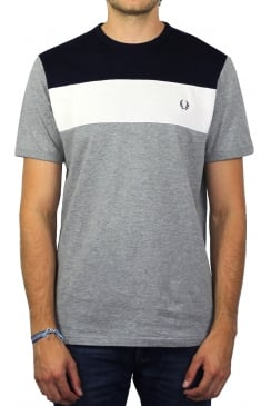 Colour Block Short-Sleeved T-Shirt (Steel Marl)
