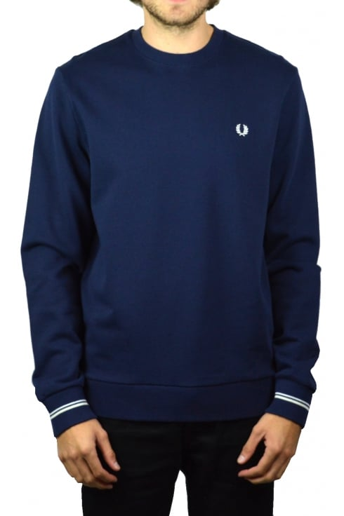 Fred Perry Crew Neck Long-Sleeved Sweatshirt (Carbon Blue)