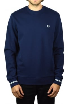 Crew Neck Long-Sleeved Sweatshirt (Carbon Blue)