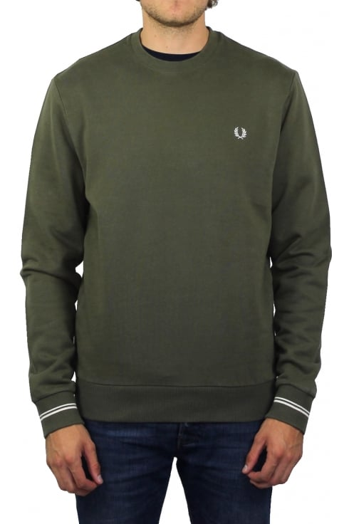 Fred Perry Crew Neck Long-Sleeved Sweatshirt (Iris Leaf)
