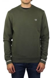 Crew Neck Long-Sleeved Sweatshirt (Iris Leaf)