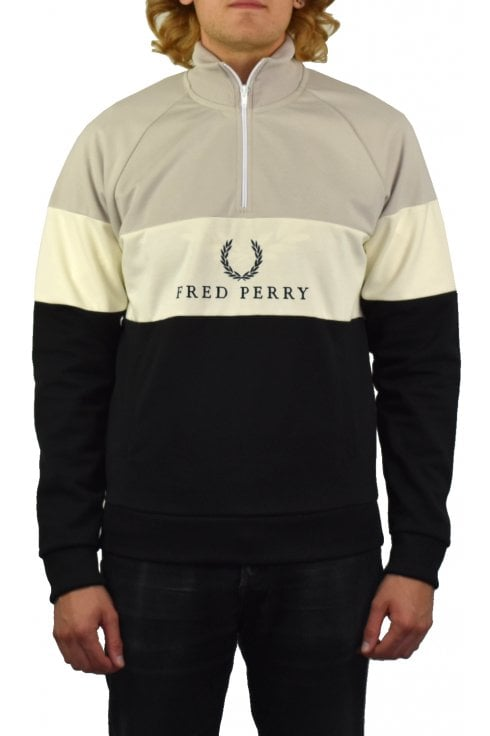 Fred Perry Embroidered Panel Sweatshirt (Black)