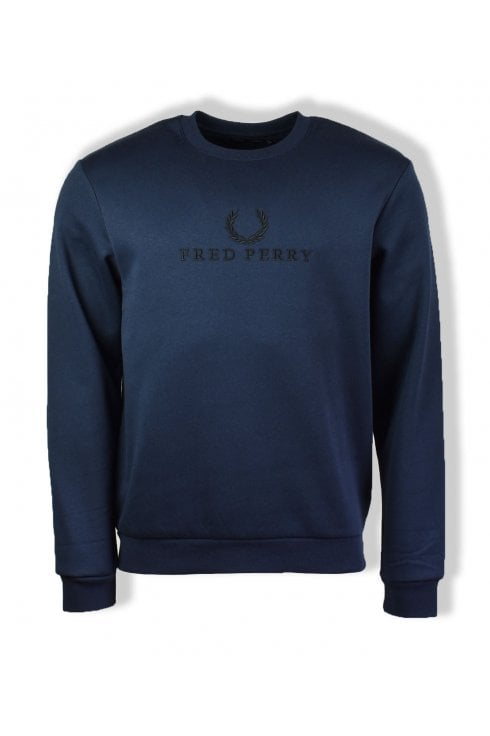 Fred Perry Embroidered Sweatshirt (Washed Navy)
