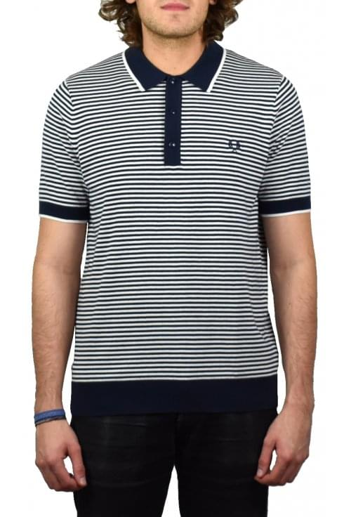 Fred Perry Fine Stripe Knitted Polo Shirt (Deep Carbon)