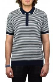 Fine Stripe Knitted Polo Shirt (Deep Carbon)