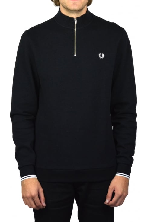Fred Perry Half Zip Pique Sweatshirt (Black)
